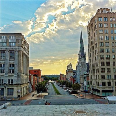 State Street, Harrisburg - looking from the Capitol steps to the Susquehanna