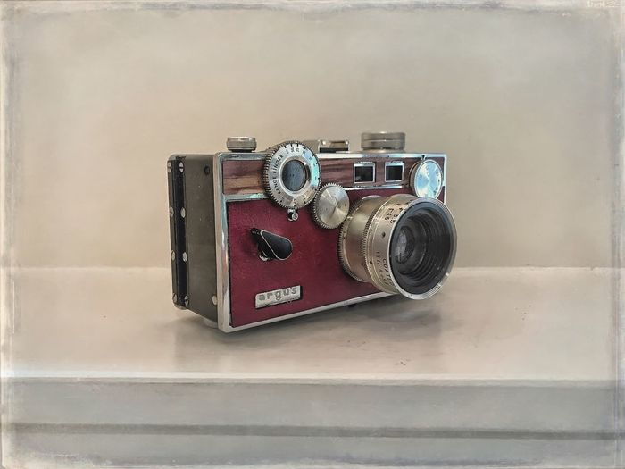 Argue C3. Vintage Camera Fine Art Photography Photography Themes Camera - Photographic Equipment Argus C3 Vintage Old-fashioned Retro Styled Antique Old Technology The Past Equipment No People Photographing Indoors  Camera Close-up Cool Stuff On A Shelf