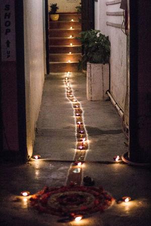 Burning Candle Flame Illuminated Night Tihar Festival Of Light And Colour