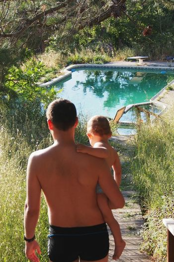 Father & Son Summer Summertime Happy Family Family Time Father Son Sweemingpool Sweeming Pool Sweeming Pool Wild Nature Trees The Essence Of Summer Fatherhood Moments
