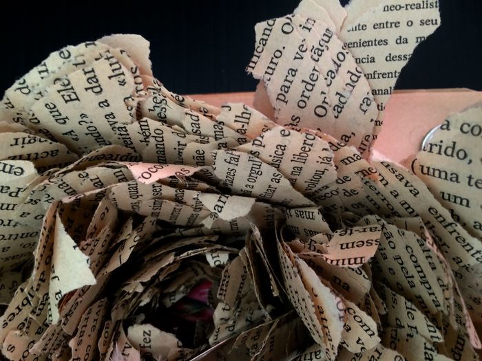 Close-up of torned papers
