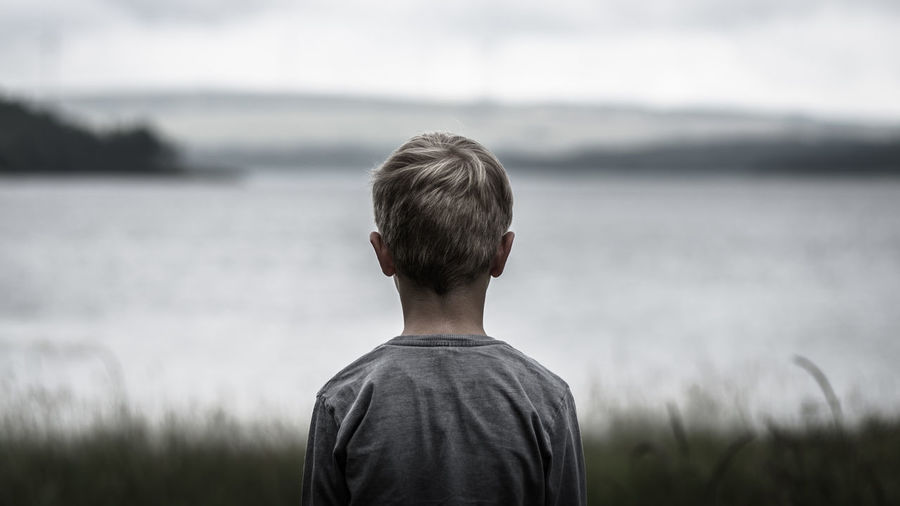 Rear view of boy standing on field against sea