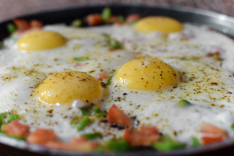 Close-up of fried egg in pan