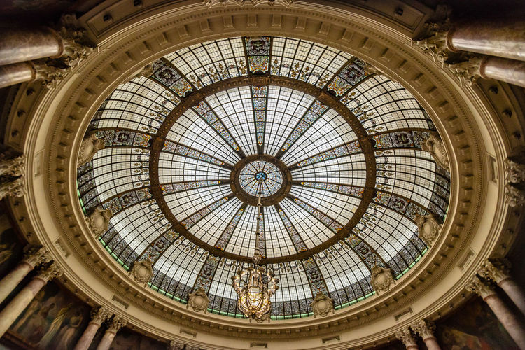Glass dome in tha hall of a public building Classic Architectural Design Architectural Feature Architecture Art Deco Art Deco Architecture Built Structure Ceiling City Cupola Day Dome Glass - Material Indoors  Interior Low Angle View Luxury Modern No People Roof Travel Destinations