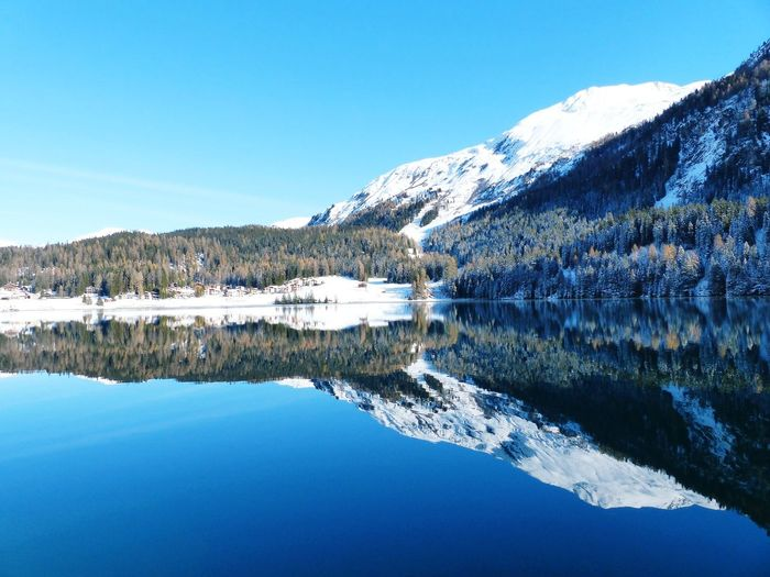 Scenic View Of Lake By Snowcapped Mountains Against Clear Blue Sky