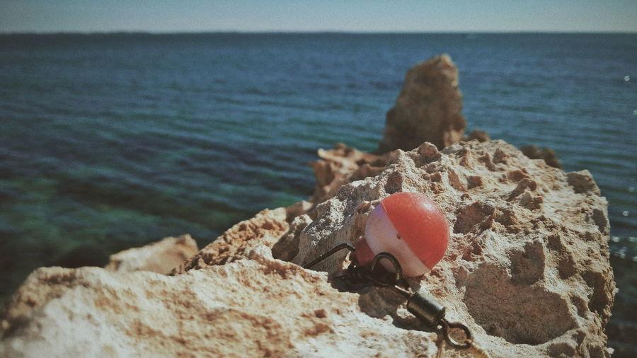 Close-up of rock on beach