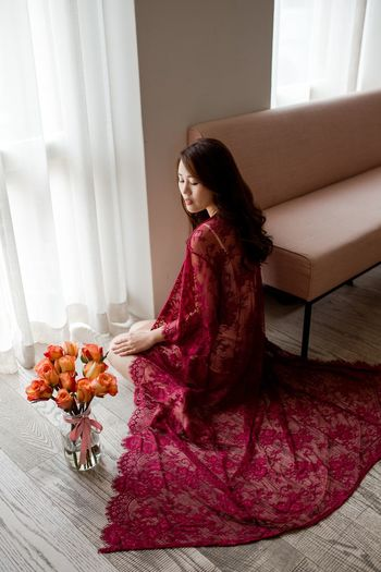 Beauty Romance Lace Red Lace Roses Flowers One Person Flower Women Indoors  Sitting Lifestyles Young Adult Home Interior Young Women Clothing