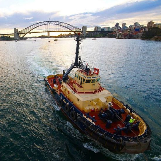 Tugboat guiding Pacificpearl out of Sydneyharbour Sydney Cruiseship Cruise SydneyHarbourBridge