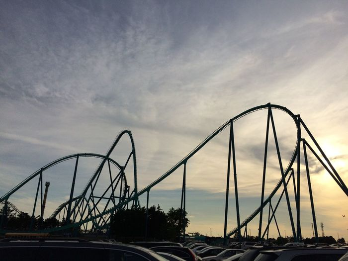 Low Angle View Of Silhouette Rollercoaster Against Cloudy Sky During Sunset