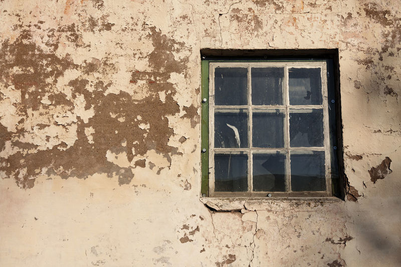 Window on wall of old building
