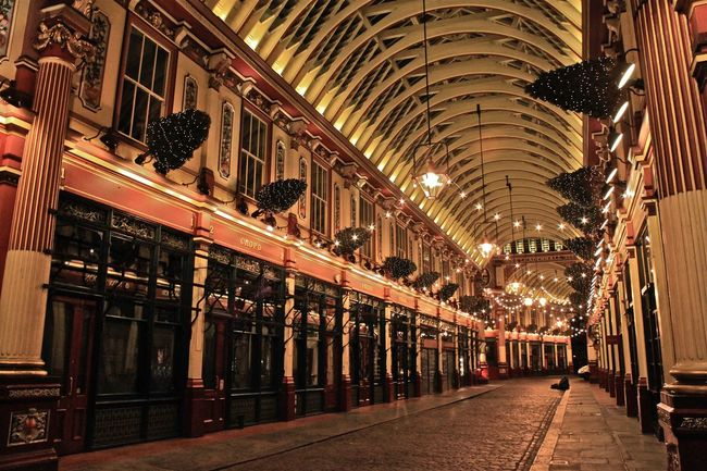 Architectural Column Architecture At Night Cobblestone Streets Empty Illuminated Leadenhall Market London London At Night  No People Peaceful Quiet Moments Quiet Places The City Walkway