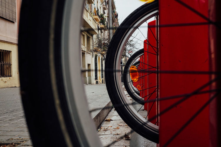 Close-up of wheel in city