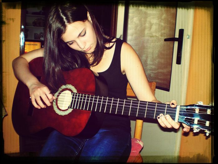 Me My Guitar:) I LOVE MUSIC *_* i play The Nobidies from Marilyn Manson <3