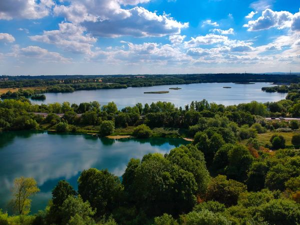 Lake landscape from a Drone Beauty In Nature Cloud - Sky Day Environment Green Color Lake Nature No People Non-urban Scene Outdoors Plant Reflection Scenics - Nature Sky Tranquil Scene Tranquility Tree Water