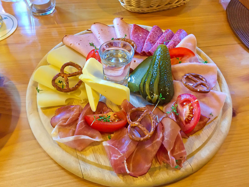 Traditional bavarian vesper on a wooden plate Bavaria Cheese! German Ham Schliersee Bavarian Butter Close-up Delicious Drink Food Food And Drink Gastronomy Germany Plate Pretzel Prezel Ready-to-eat Restaurant Sausage Schnaps Table Traditional Vesper Wooden
