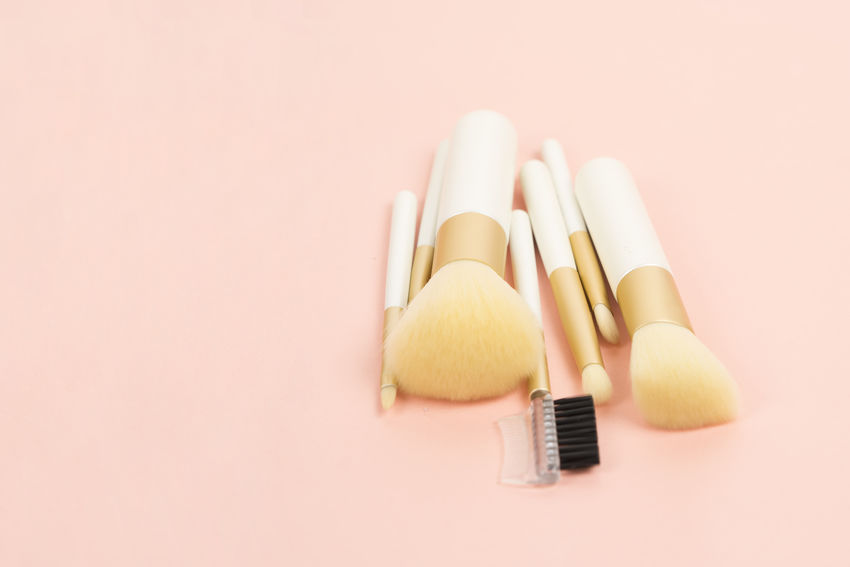 Brushes Close-up Copy Space Cutting Board High Angle View Holding Indoors  Make Up Make Up Brushes Make Up Tools Part Of Pink Background Still Life Studio Shot Table Yellow