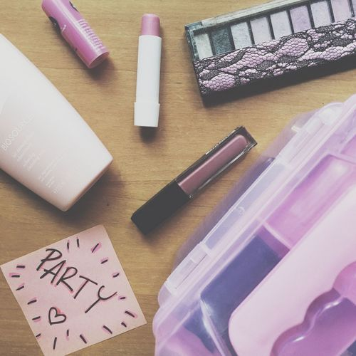Millennial Pink Still Life Indoors  No People Table Paper Writing Instrument Rubber Stamp Close-up Rubber Band Makeup Party Night Girl Cute