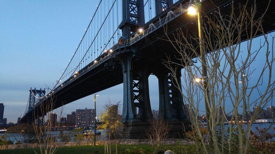 Illuminated Manhattan Bridge During Dusk