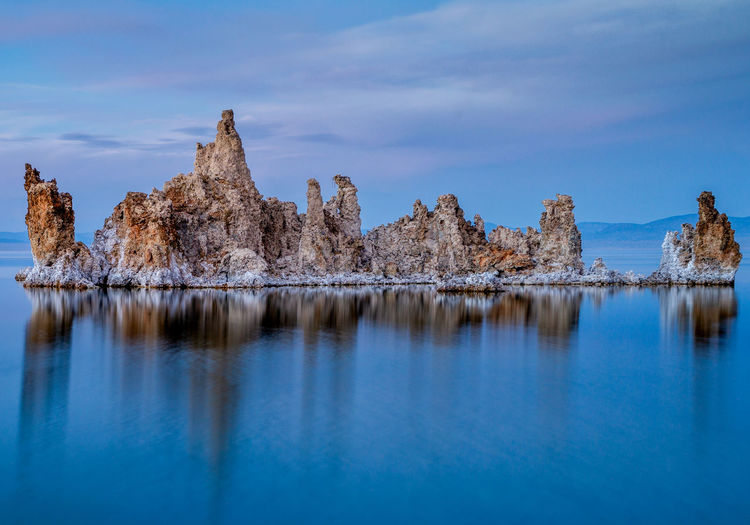 Mono Lake Tufa USA Water Sky Scenics - Nature Beauty In Nature Reflection Tranquility Lake Tranquil Scene Waterfront Nature Day No People Blue Cloud - Sky Non-urban Scene Cold Temperature Winter Idyllic Outdoors