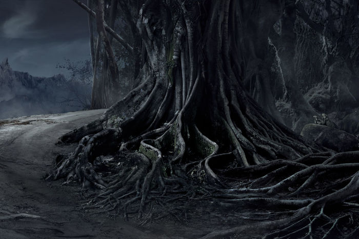 Spooky Halloween dead mysterious forest big tree landscape with foggy background at the night Dark Evil Fear Halloween Horror Moon Nature Tree Wood Blackandwhite Crows Dangerous Dead Evening Forest Mist Mood Moonlight Mystery Night Nightmare Roots Of Tree Scary Shadow Spooky
