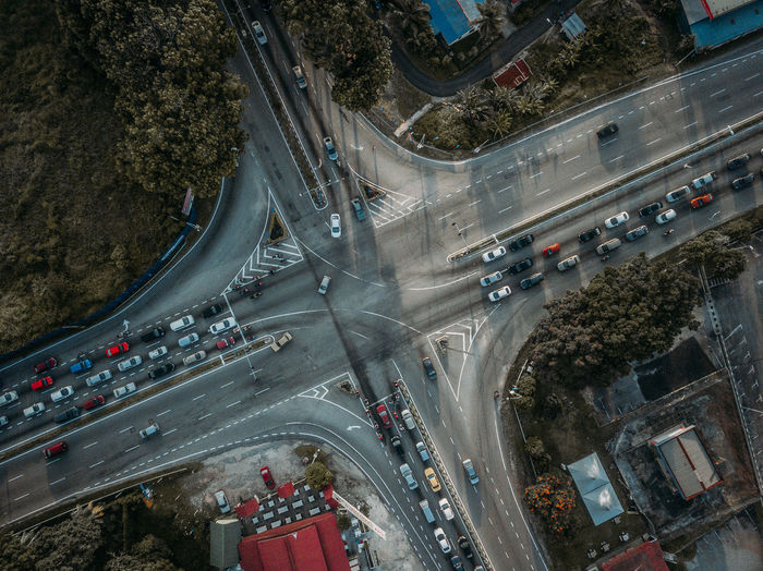 Aerial view of traffic on road in city