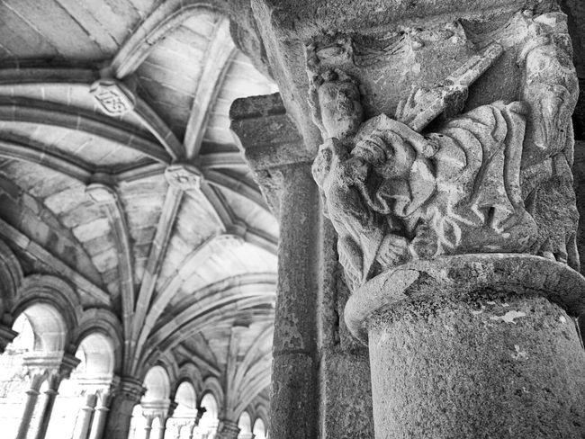 Monastery Claustro Stone Carving Black & White