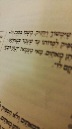 Hebrew Alphabet Hebrew Talmud Kiddushin Judaism Jewish small section from Kiddushin, Perek 29A in the Talmud Close-up