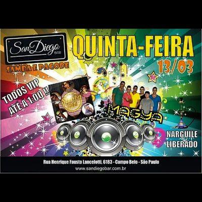 Lembrando a todos que hoje tem MaGya e Samba Hits no San Diego Todo mundo Vip até 1:00 da manhã Vemtodomundooo