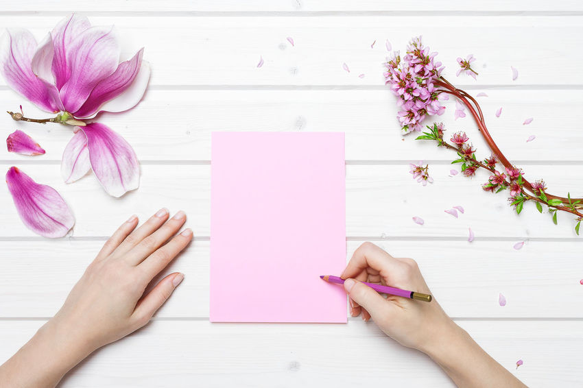 Directly Above Female Hand Writing Female Hands Female Hands Writing Flower Human Hand Magnolia Flower Paper Pink Color Shipdeck Shipdeck Shipdeck Tabletop Table
