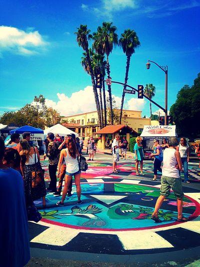 Ojai Day 2015 Ojai Celebration Crowd Mandala Community Street Art