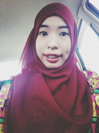 Hijab in Red. That's Me Hanging Out Braces!