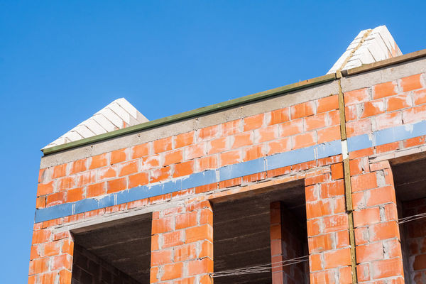 Bald Blue Sky Brick Building Brickwork  House Rooftop Structural Engineering Window Frame