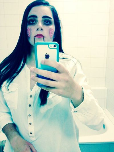 Halloween Saw Creepy Face. Friends Whites Young Woman. Standing Ready To Party  Dark Hair. Going Out. Season Fest. Fun Looking .