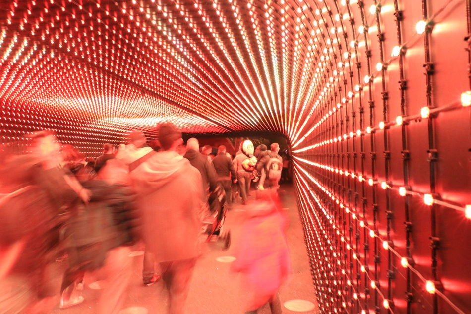 Gardalandpark Hallway Light Passageway People Walking  Psicadelic Red Colour Tech