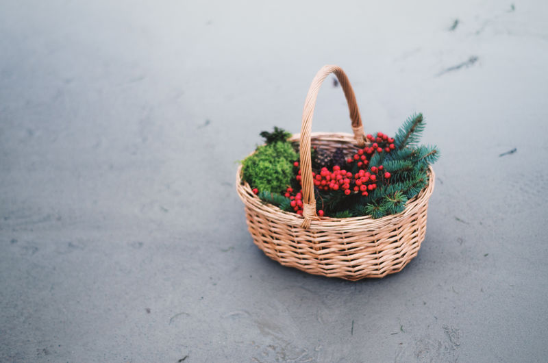 Basket filled with nature goods.