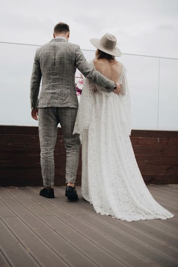 Bride And Bridegroom On Boardwalk