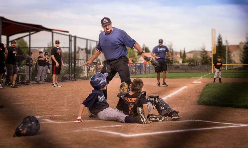 EyeEm Best Shots - Sports Baseball Life Baseball ⚾ Baseball Game VERY CLOSE Call!!!! Homerun A Close Call Kids Umpire Portrait Of America