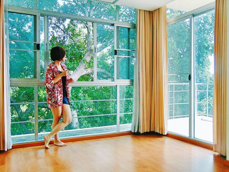 One fine Morning in Bangkok. Relaxing Enjoying Life Window Morning Tea Travelling Hotel Thailand