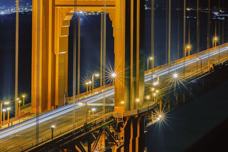 Illuminated golden gate bridge at night