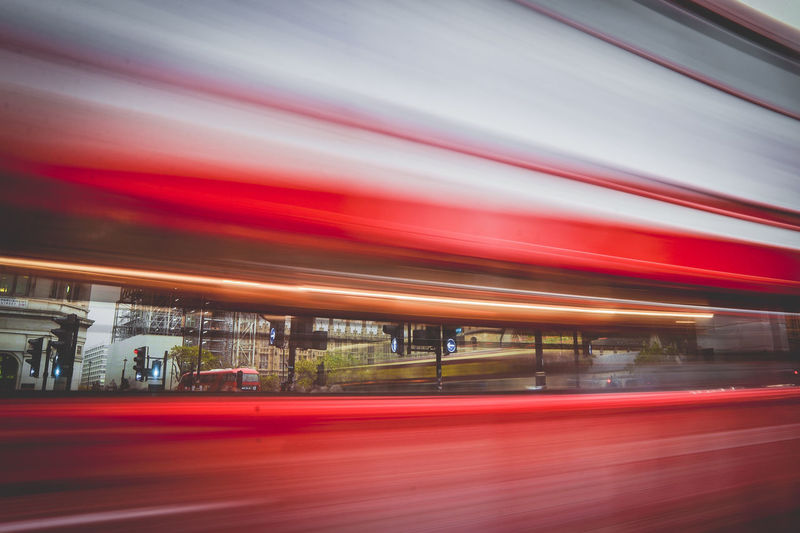 Blurred motion of train in city