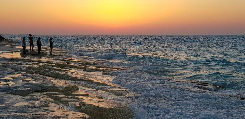 North coast, Alexandria, Egypt Water Sea Sunset Beach Low Tide Horizon Sun Sunlight Reflection Silhouette Seascape Wave Coastal Feature Salt Basin Coast Romantic Sky