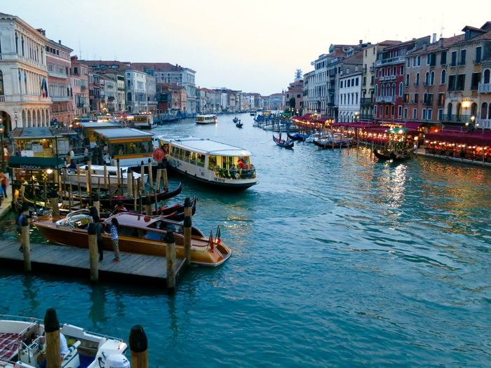 People with boats in grand canal