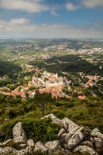 Architecture Built Structure Castle City Cityscape Hill Historic Landscape Mediteranean Mountain Outdoors Palace Palacio Nacional De Sintra Portugal Residential Building Residential District Residential Structure Roof Scenics Sintra Tourism Town TOWNSCAPE Travel View From Above