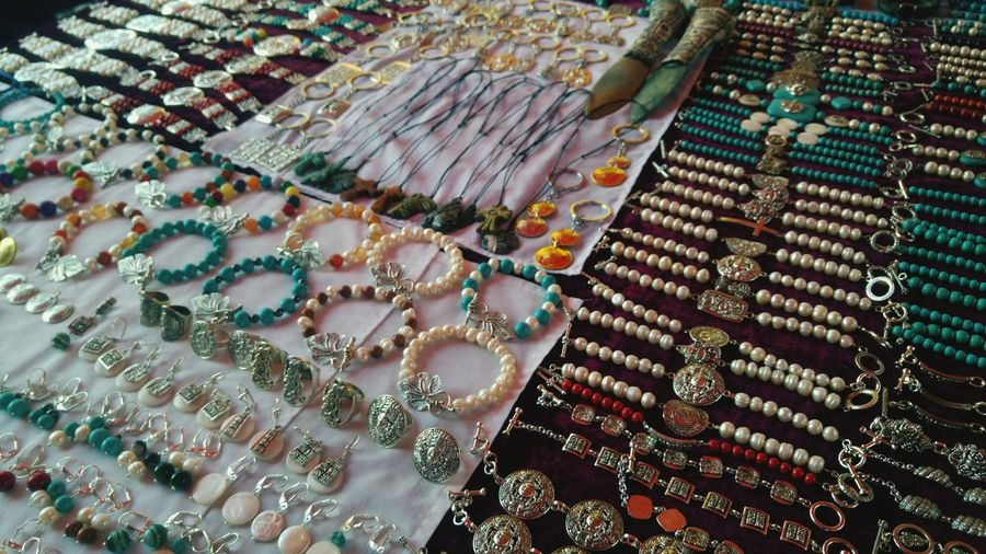 High Angle View Of Various Jewelry For Sale In Store