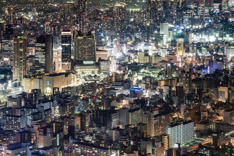 High angle view of buildings in city, took at the highest building in japan
