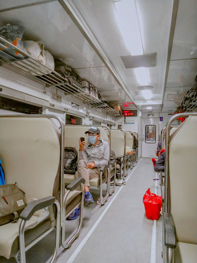People working in train