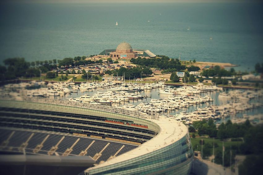 A view from a friend's condo in downtown chicago of the adler planetarium also seeing soldier field. Summer 2014. Downtown Chicago Adler Planetarium Summertime Lake Front Lakeshoredrive Michiganavenue From The Rooftop Colour Your Horizn