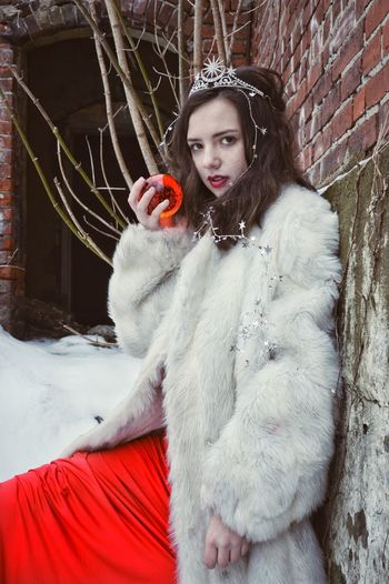Snow White, Red Apple Snow White Fairy Tale Fairytale  Fantasy Red Apple Fur Coat Faux Fur Red Dress Glass Orb Orb Abandoned Places Urbex Urbexphotography Ruins Ruins Architecture Snow Winter Natural Light Young Girl Young Woman Beauty Beautiful