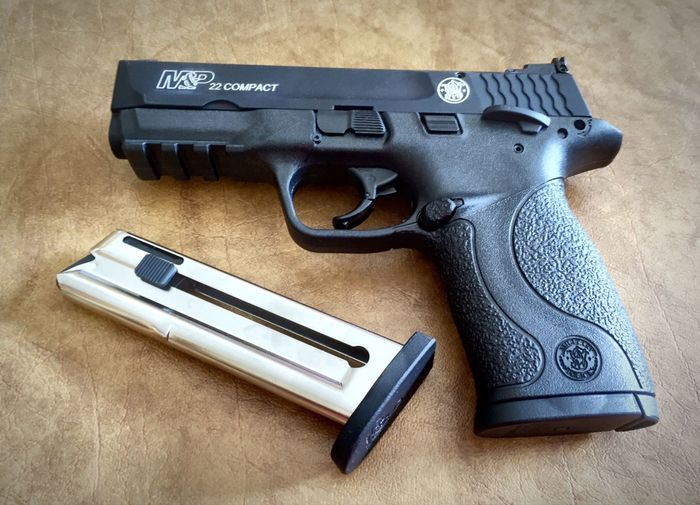 Smith & Wesson M&P 22 Compact Pistol Arrangement Close-up Equipment Gun M & P Man Made Object No People Pistol Smith & Wesson Smith & Wesson M&P 22 Compact Still Life Things That Go Together Two Objects