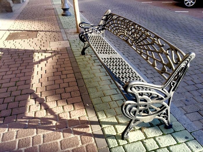 City Seat Bench High Angle View Day Outdoors No People Low Section